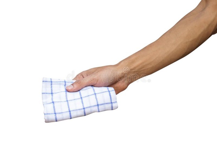 Man Hand Holding Handkerchief or Table Wipes Isolated on White Stock Photo  - Image of cold, hygiene: 110309434