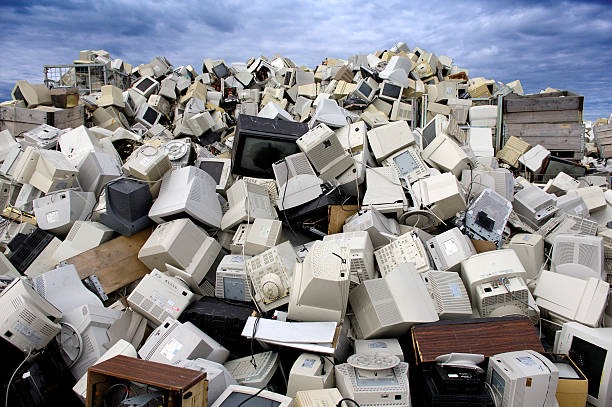 recycling plant tellies and monitors norway. - e waste stock pictures, royalty-free photos & images