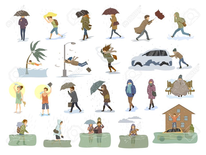 Collection Of People Coping With Bad Severe Meteorological Weather  Conditions Disasters Like Extreme Heat And Cold, Hurricane, Strong Wind  Snow Hail Rain Storm, Tsunami, Flood Graphic Royalty Free Cliparts,  Vectors, And Stock
