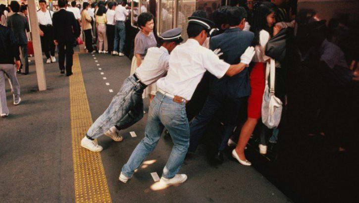 Subway passenger pusher