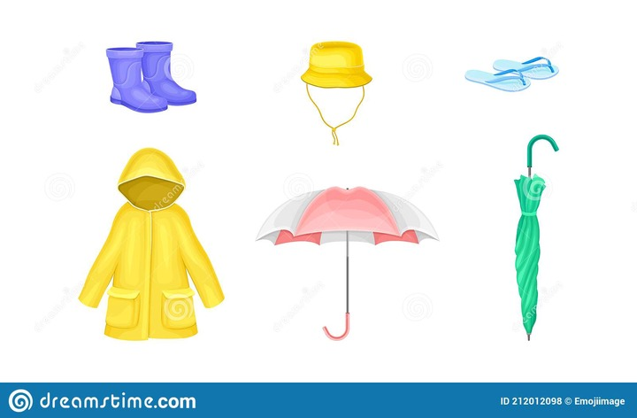Waterproof Clothes and Things for Rainy Weather Condition with Yellow  Raincoat and Umbrella Vector Set Stock Vector - Illustration of sleeve,  mackintosh: 212012098