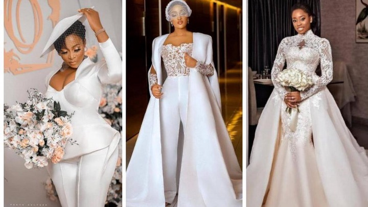 Brides in two-pieces wedding gowns