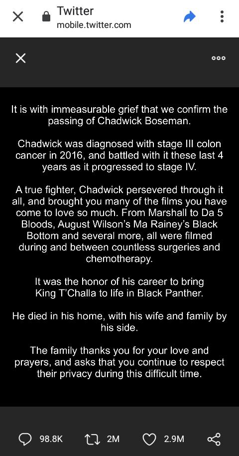 Rip Black Panther Actor Chadwick Boseman Dies At 43 Opera News