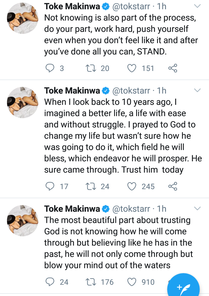 February Was Extremely Dark For Me, I Even Stopped Praying At Some Point- Toke Makinwa