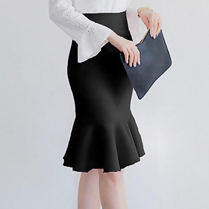 FairyShely 2020 Black Knee Length Ruffle Office Skirt Women Autumn High  Waist Mermaid Mini Skirt Lady Sexy Red Short Work Skirt Skirts  - AliExpress