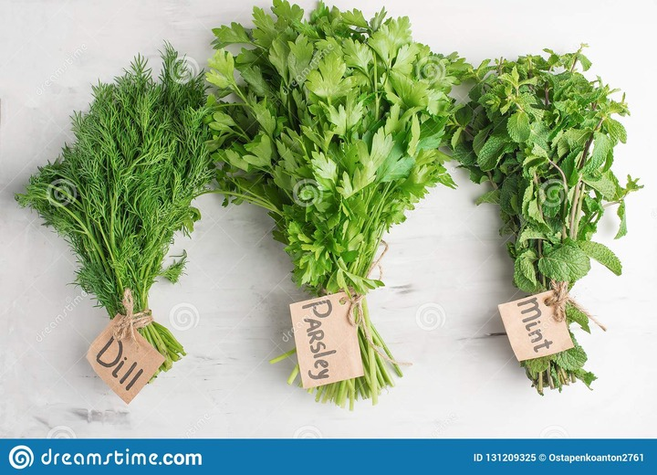 Herbs For Cooking, Mint, Dill And Parsley Stock Image - Image of green,  healthy: 131209325