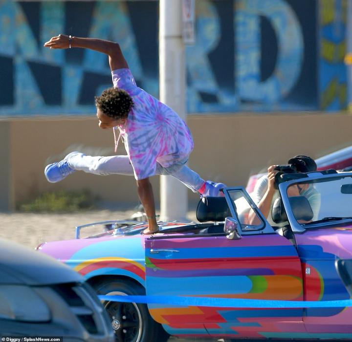 Talent: Jaden was seen performing various tricks when getting in and out of the car