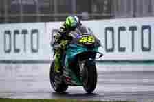 Pembalap Petronas Yamaha SRT, Valentino Rossi, pada hari pertama MotoGP San Marino 2021 di Sirkuit Misano, Jumat (17/9/2021).