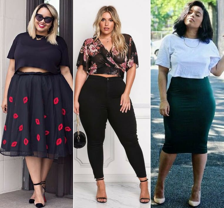 curvy crop tops outfit