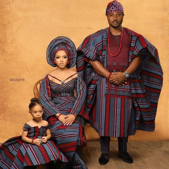 Family set Vintage 100% aso oke for African family ceremonial | Etsy