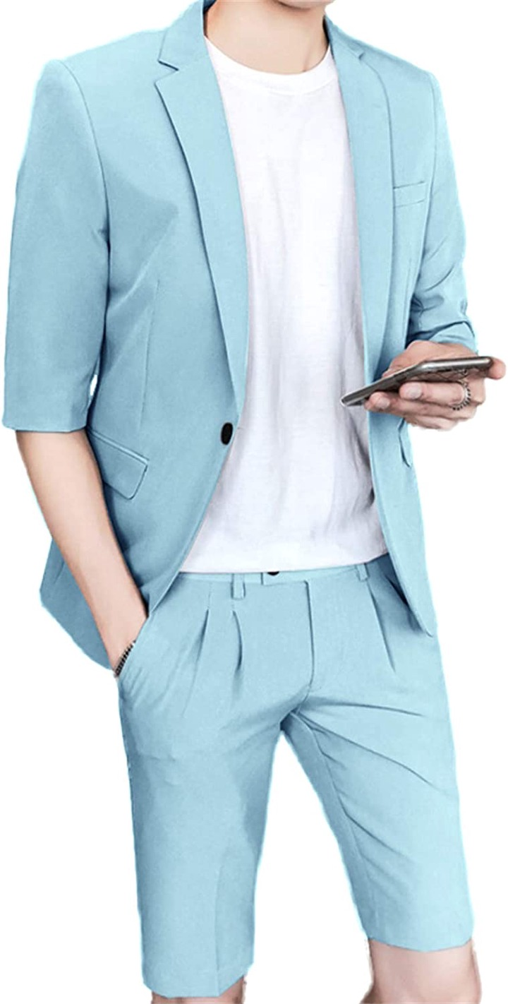 Setwell Mens Casual Tailored Blazer Short Sleeve One-Button Lightweight  Suit Jacket at Amazon Men's Clothing store