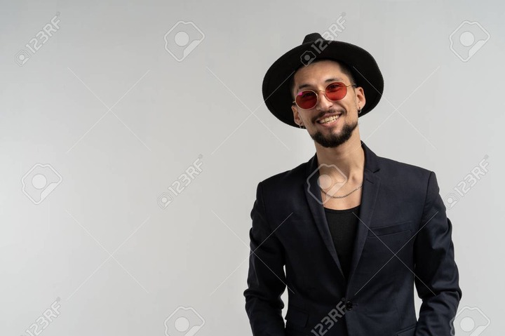 Handsome Elegant Man In Black Suit And Hat In Round Sunglasses Stock Photo,  Picture And Royalty Free Image. Image 115732069.