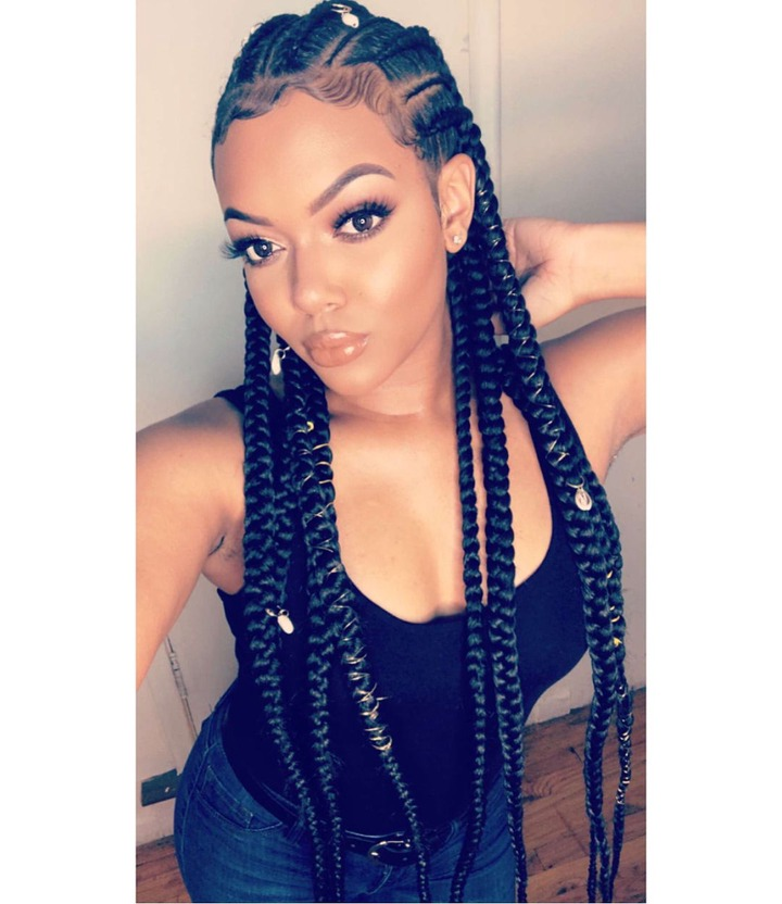 Latest Cornrow Accent Braids Hairstyles Intended For Double Dutch Accent Braids (View 9 of 20)