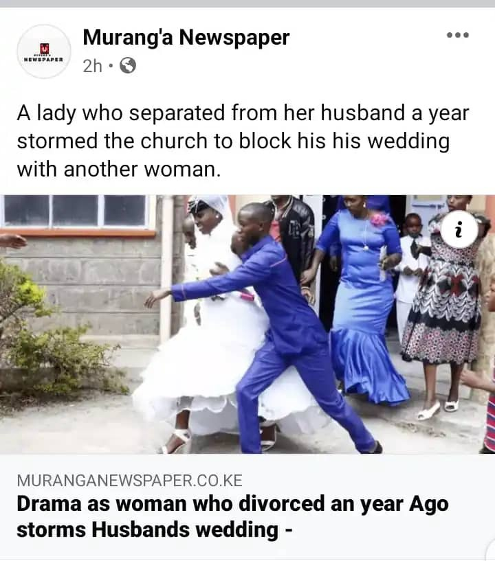Woman who divorced a year ago storms church, blocks her former husband's wedding with a new lady. 53