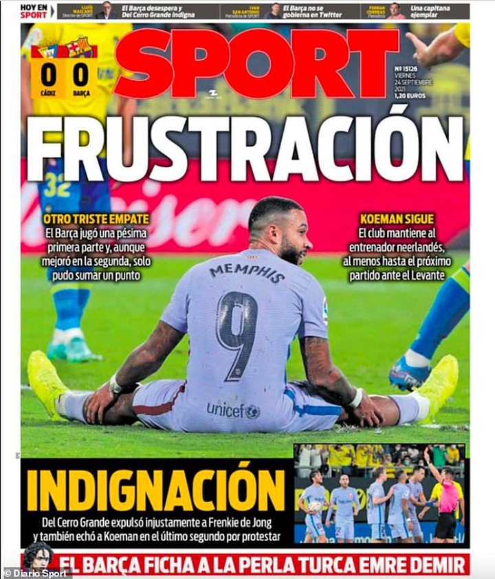 Diario Sport show a floored Memphis Depay on their front page and the words 'Frustration'