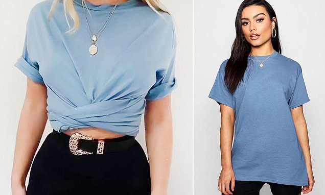 From a scarf knot to a 'bandage wrap', five simple ways to style a baggy  T-shirt   Daily Mail Online