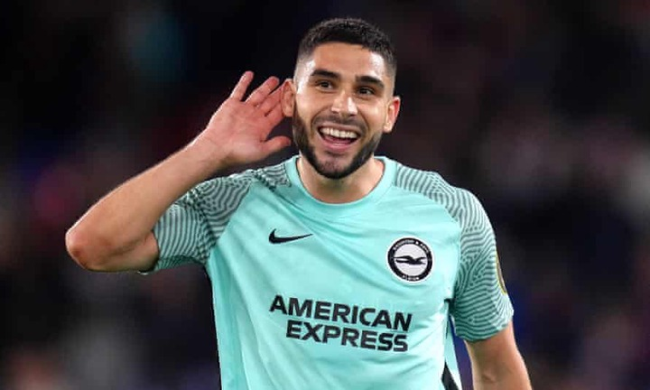 Brighton's Neal Maupay cups his ears to the fans after scoring a 95-minute equaliser at Crystal Palace.