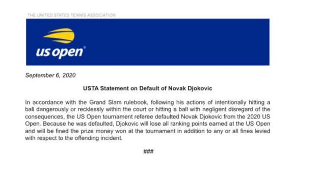 A Video Of Djokovic Disqualified From Us Open After Hitting Line Judge With Ball Fans Reactions Opera News
