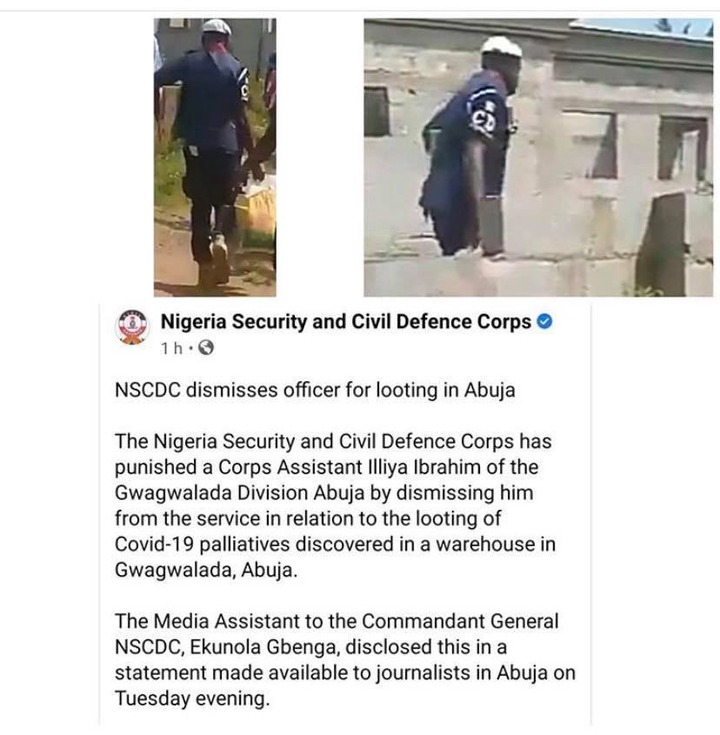 After Joining Hoodlums To Loot Palliatives In Abuja, See The Punishment  NSCDC Gave Its Officer - Opera News
