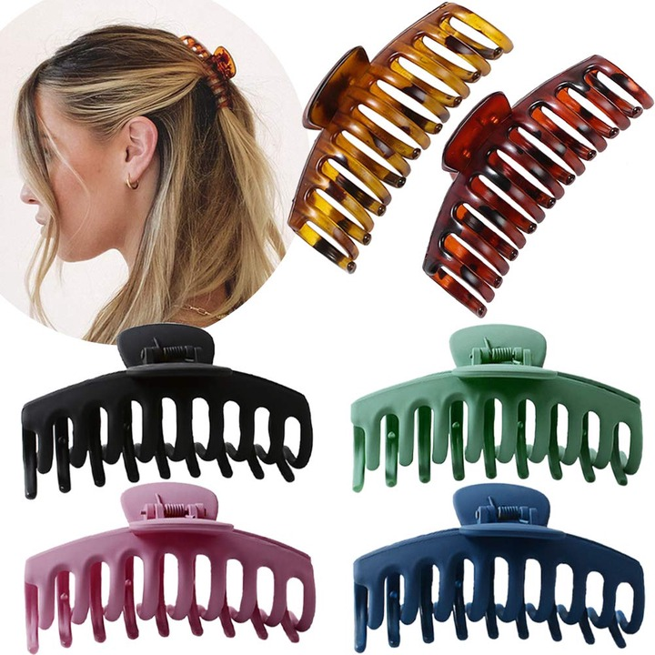 Buy Large Hair Claw Clip for Women - 4.3″ Jumbo Hair Clips Strong Hold Hair  Catch Barrette Jaw Clamp for Thick/Thin Hair Tortoise Barrettes Celluloid  Big Fashion Hair Styling Accessories Girls (6