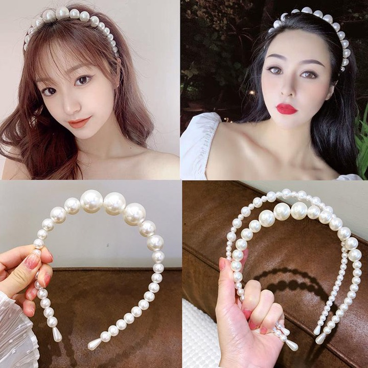 Buy Korean Imitation Pearl Headband for Women Girls Party Cute Hair bands  Accessories Bridal Crown Handmade Wedding Hair Jewelry at affordable prices  — free shipping, real reviews with photos — Joom