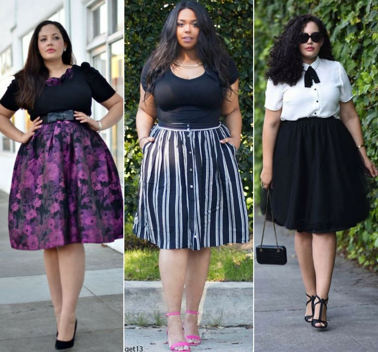 curvy girls a-line skirts outfit