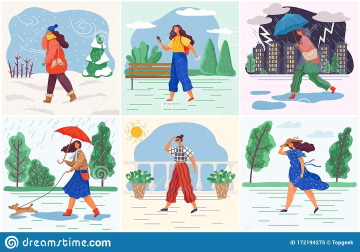 Weather Conditions and Seasonal Female Clothes Stock Vector - Illustration  of snow, climate: 172194275