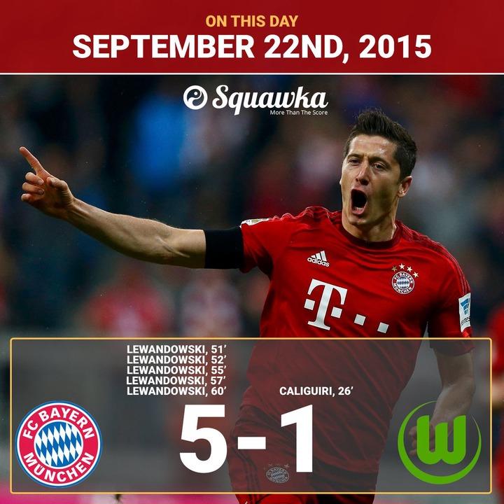 "Squawka Football on Twitter: ""ON THIS DAY: In 2015, Robert Lewandowski  scored 5 goals in 9 minutes for Bayern Munich vs. Wolfsburg. Alien activity  confirmed. 👽… https://t.co/Xy1R9350eX"""
