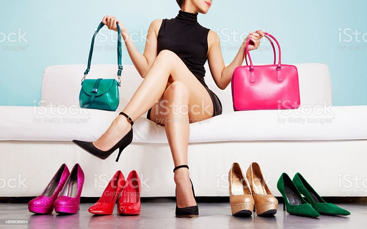 Colorful Shoes And Bags With Woman Shopping Fashion Images Stock Photo -  Download Image Now - iStock