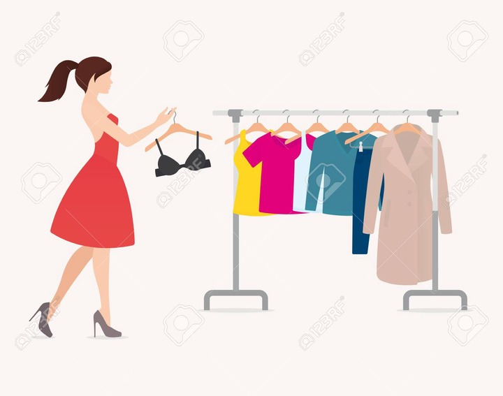 Vector Beautiful Woman And Hanger With Hanging Colored Clothes. Isolated On  White Background. Royalty Free Cliparts, Vectors, And Stock Illustration.  Image 145794260.