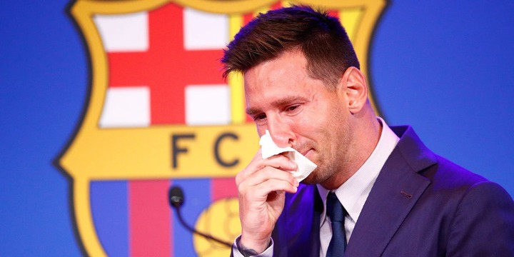Lionel Messi in Tears at Farewell Barcelona Press Conference