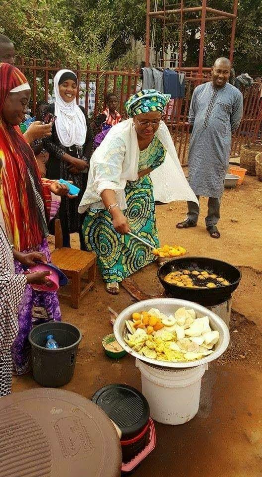 Image result for aisha buhari frying akara