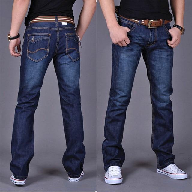 2019 CHOLYL Men's Straight Denim Jeans Navy Blue Solid Long Jeans New –  Egapy