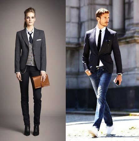 Blazer With Jeans And Tie - FashionBuzzer.com
