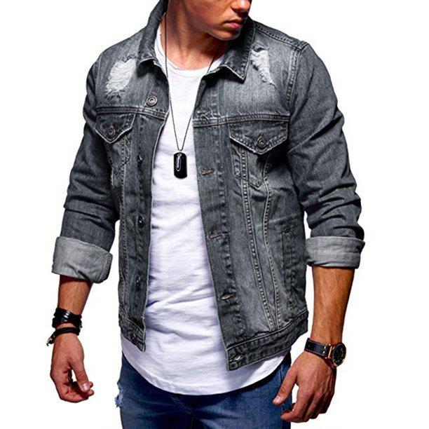 Male Ripped Jeans Coat Men Casual Denim Jacket - Walmart.com - Walmart.com