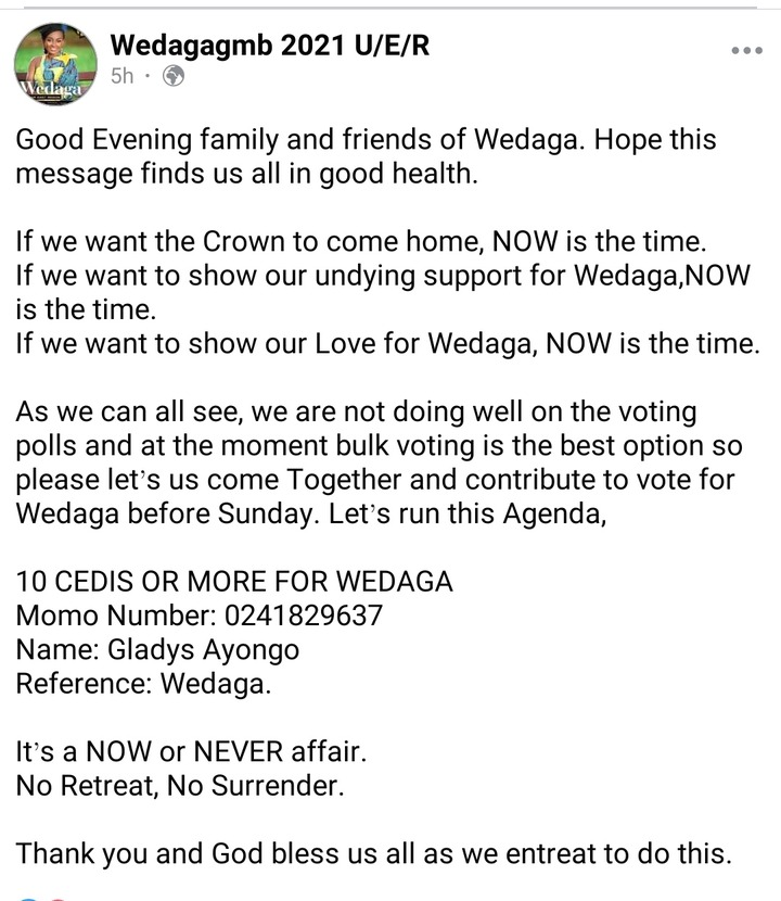 Upper East's Wedaga Sadly Explains Why She May Lose The Crown Because Of Her Own People