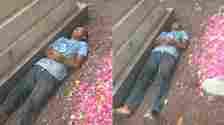 Viral Seorang Pria Tidur Di Samping Makam, Warganet Tak Tega