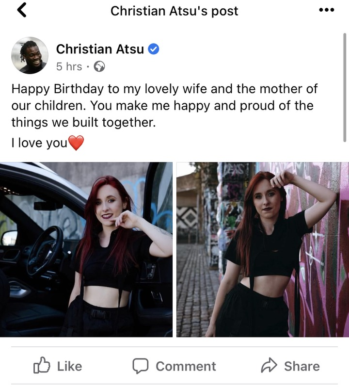 'Kwasia' Like This Get Beautiful Wife And Kids- Mubarak Wakaso Disses Christian Atsu After He Shared Photos Of His Adorable White Wife