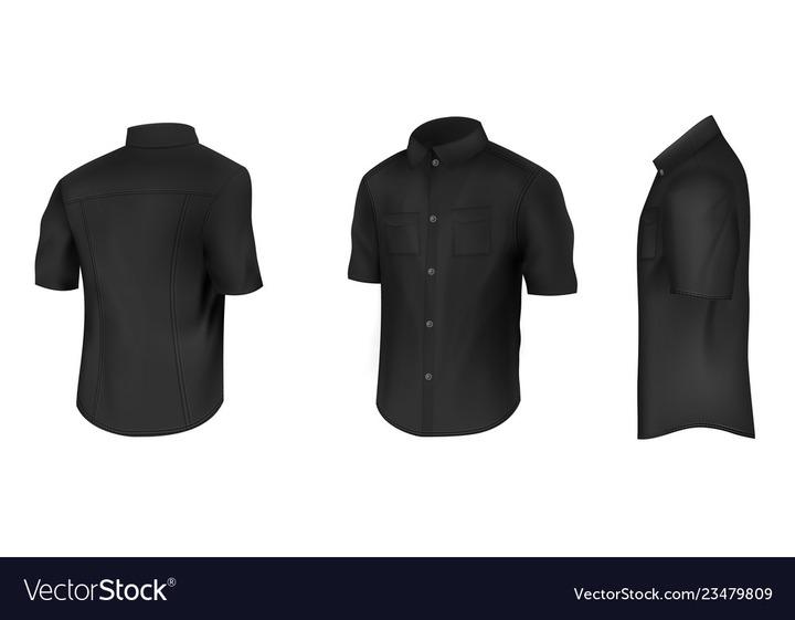 Black shirt with short sleeves mockup Royalty Free Vector