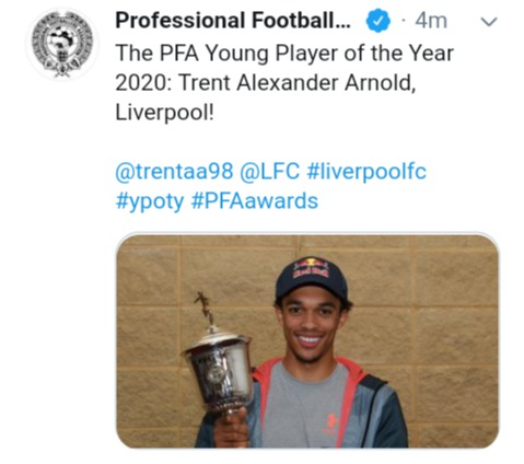 Breaking Pfa Young Player Of The 2019 20 Season Announced Opera News
