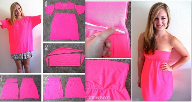How To Make A Beautiful Dresse From Simple T-Shirt