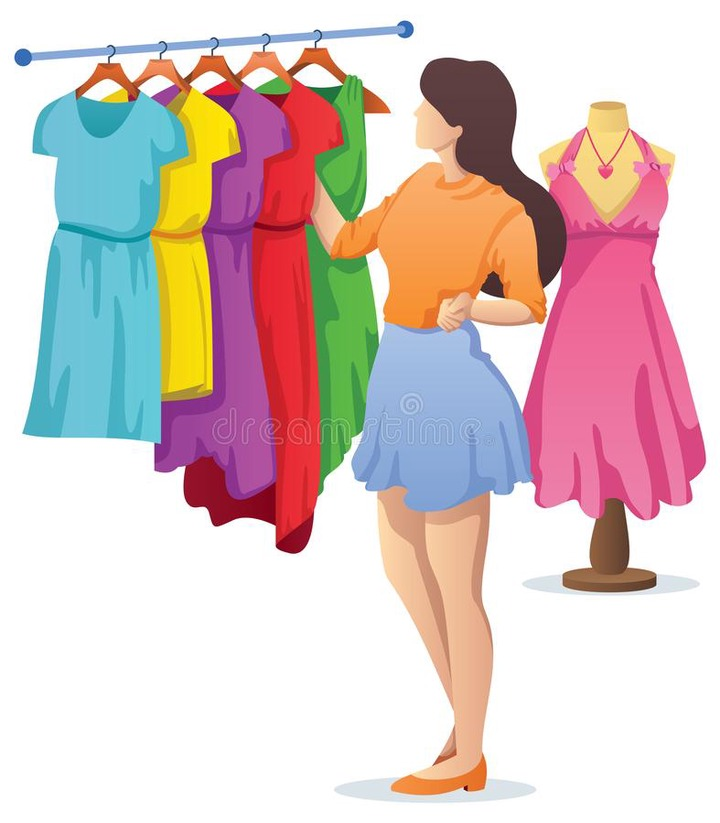 Young Woman Choosing Dress Stock Illustrations – 424 Young Woman Choosing  Dress Stock Illustrations, Vectors & Clipart - Dreamstime