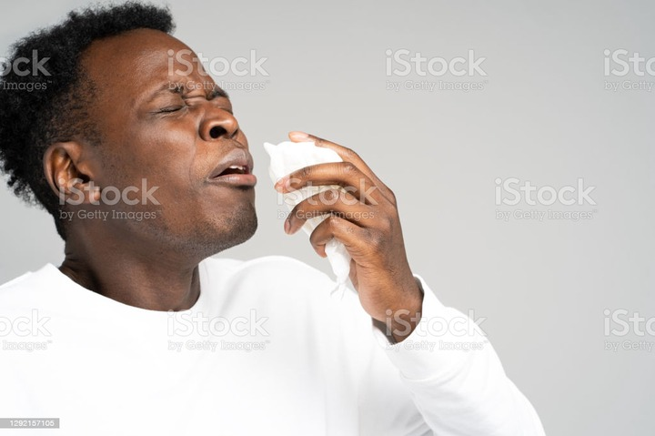 Unhealthy Afro-American man blowing nose and sneeze into tissue or napkin, experiences allergy symptoms, closed eyes, standing over gray background. First symptoms of a cold and flu. Close up of unhealthy Afro-American man blowing nose and sneeze into tissue or napkin, experiences allergy symptoms, closed eyes, standing over gray background. First symptoms of a cold and flu. African-American Ethnicity Stock Photo