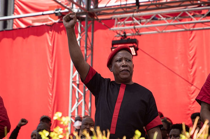 EFF leader Julius Malema at the party's manifesto launch on 26 September 2021.