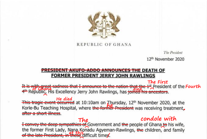 "7b11c6fda14fbc3fd6d0bb0945c7d8b2 1?source=nlp&quality=hq&format=jpeg&resize=720 - Tweep Corrects Nana Addo's ""Grammatical Errors"" In His Press Statement About Rawlings' Death"