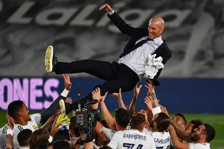 Zinedine Zidane finds his ultimate fulfilment after Real Madrid's title |  Real Madrid | The Guardian