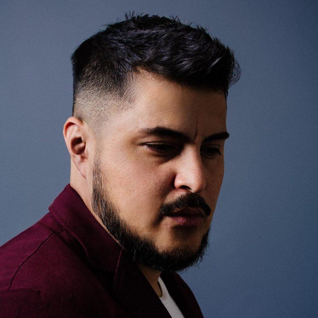 Mid fade haircut with beard