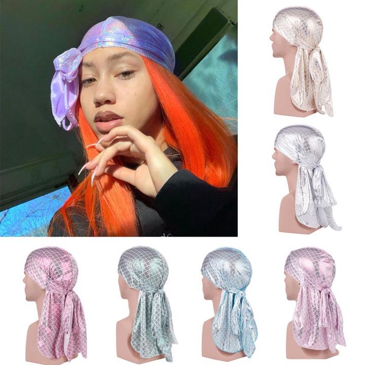 Tie dye Unisex Durag HipHop Bandanna Rapper Turban Hat Lace Bandanas  Elastic Print Glitter Silk Durag Long Tail Headwear Women    - AliExpress