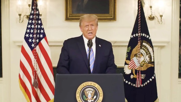 U.S President Donald Trump gives an address, a day after his supporters stormed the U.S. Capitol in Washington, U.S., in this still image taken from video provided on social media on January 8, 2021. Donald J. Trump via Twitter/via REUTERS