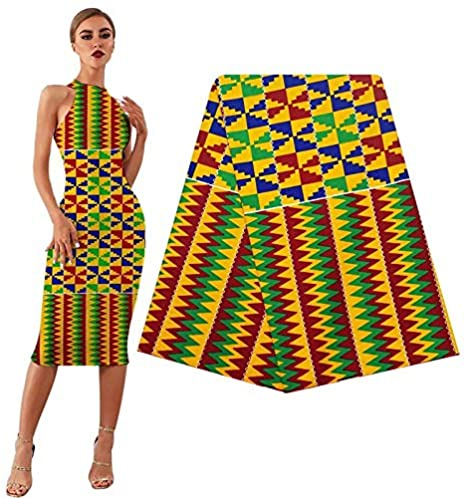 Amazon.com: African Fabric Real Wax Ankara Prints Kente Fabric Sewing  African Dress Tissu Patchwork Making Craft Loincloth 100% Cotton Material  (Color : Lemon Green, Size : 3yards)